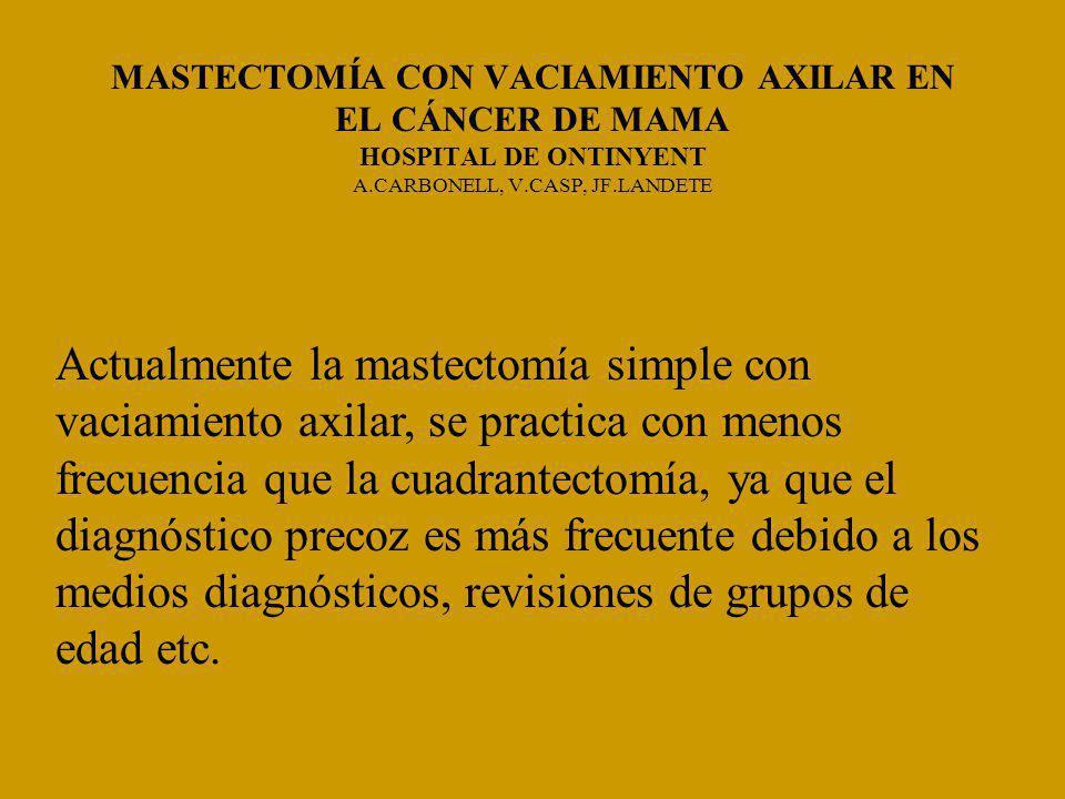 Actualmente la mastectomía simple con vaciamiento axilar, se practica con menos frecuencia que la cuadrantectomía, ya que el diagnóstico precoz es más frecuente debido a los medios diagnósticos, revisiones de grupos de edad etc.