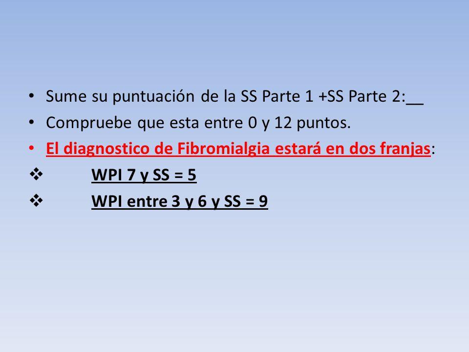 Sume su puntuación de la SS Parte 1 +SS Parte 2:__ Compruebe que esta entre 0 y 12 puntos. El diagnostico de Fibromialgia estará en dos franjas: WPI 7