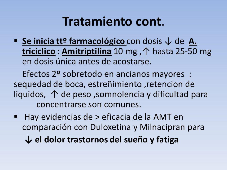 Tratamiento cont. Se inicia ttº farmacológico con dosis de A. triciclico : Amitriptilina 10 mg, hasta 25-50 mg en dosis única antes de acostarse. Efec