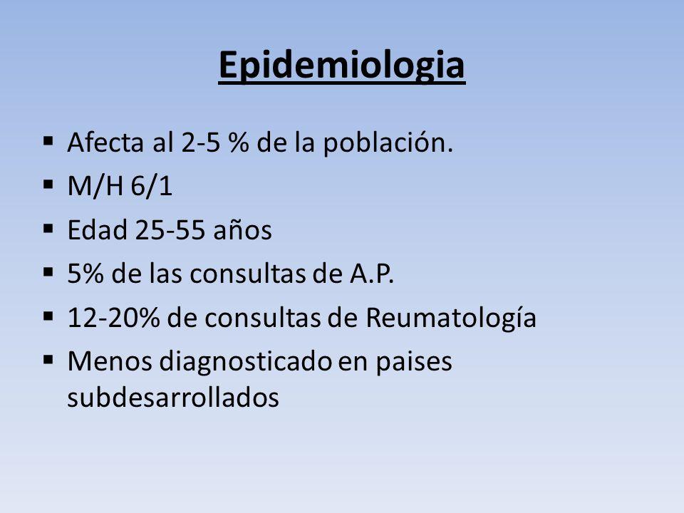Epidemiologia Afecta al 2-5 % de la población. M/H 6/1 Edad 25-55 años 5% de las consultas de A.P. 12-20% de consultas de Reumatología Menos diagnosti