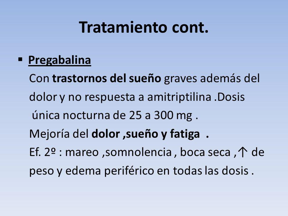 Tratamiento cont. Pregabalina Con trastornos del sueño graves además del dolor y no respuesta a amitriptilina.Dosis única nocturna de 25 a 300 mg. Mej
