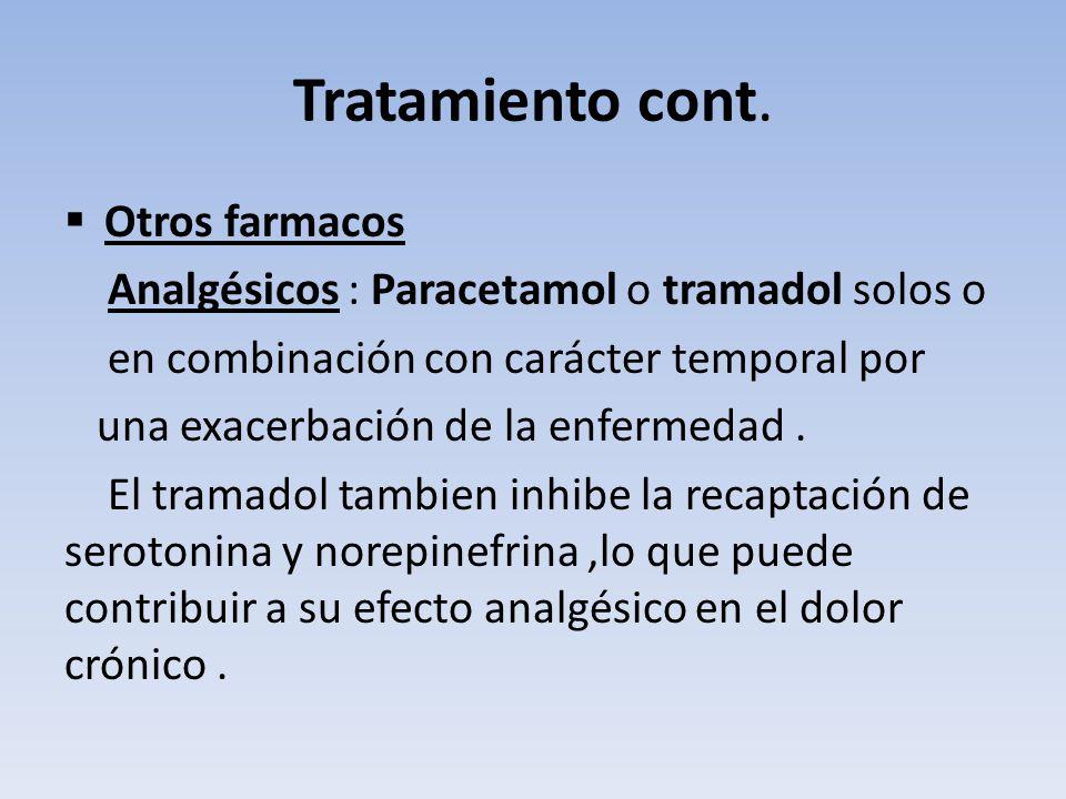 Tratamiento cont. Otros farmacos Analgésicos : Paracetamol o tramadol solos o en combinación con carácter temporal por una exacerbación de la enfermed