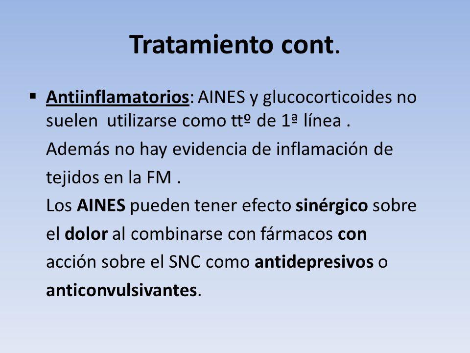Tratamiento cont. Antiinflamatorios: AINES y glucocorticoides no suelen utilizarse como ttº de 1ª línea. Además no hay evidencia de inflamación de tej