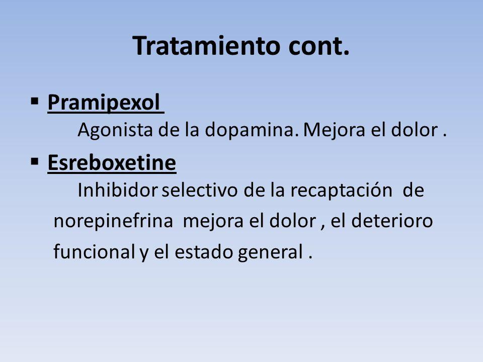 Tratamiento cont. Pramipexol Agonista de la dopamina. Mejora el dolor. Esreboxetine Inhibidor selectivo de la recaptación de norepinefrina mejora el d