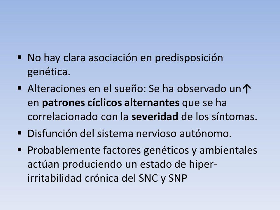 No hay clara asociación en predisposición genética. Alteraciones en el sueño: Se ha observado un en patrones cíclicos alternantes que se ha correlacio