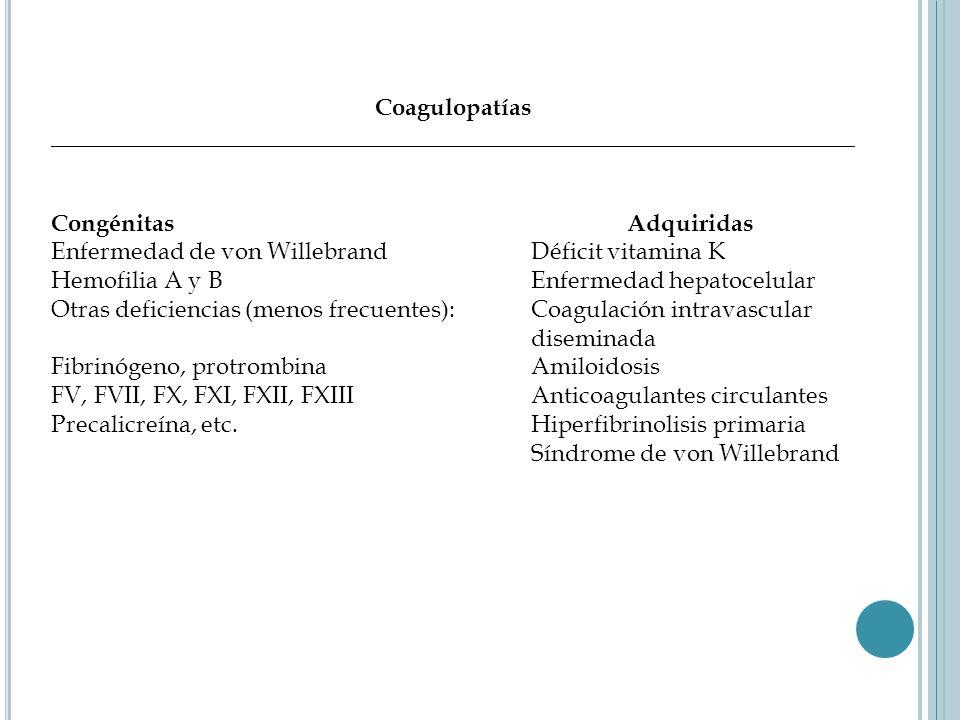 Coagulopatías ___________________________________________________________________ Congénitas Adquiridas Enfermedad de von Willebrand Déficit vitamina K Hemofilia A y B Enfermedad hepatocelular Otras deficiencias (menos frecuentes): Coagulación intravascular diseminada Fibrinógeno, protrombina Amiloidosis FV, FVII, FX, FXI, FXII, FXIII Anticoagulantes circulantes Precalicreína, etc.