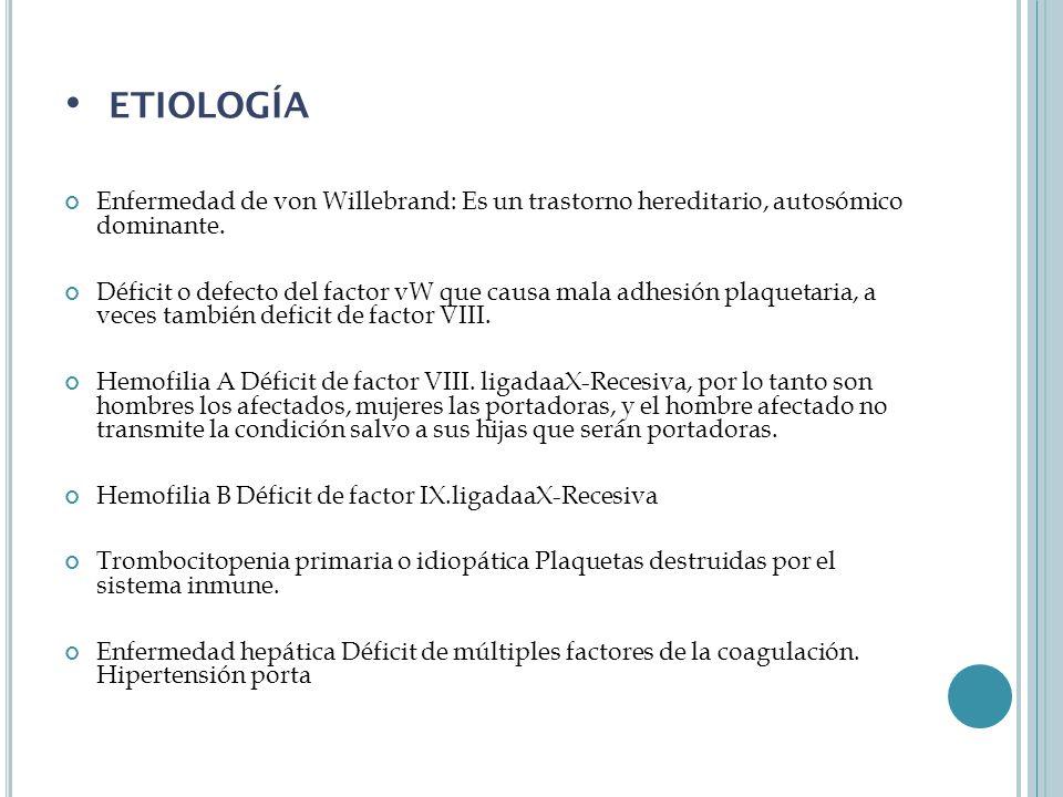 Enfermedad de von Willebrand: Es un trastorno hereditario, autosómico dominante.
