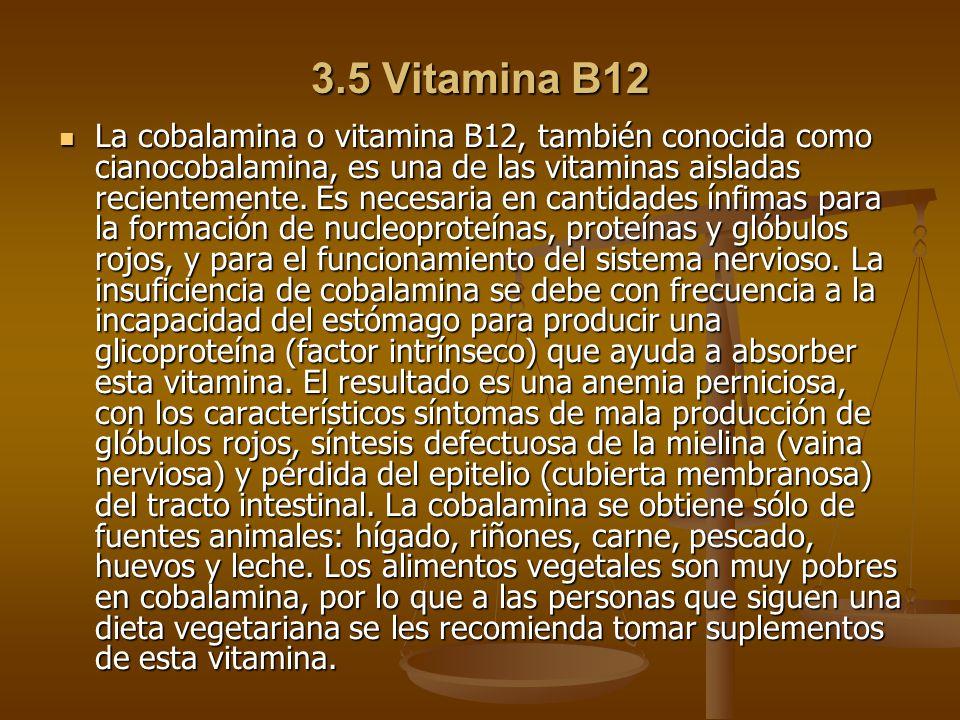 3.5 Vitamina B12 La cobalamina o vitamina B12, también conocida como cianocobalamina, es una de las vitaminas aisladas recientemente.