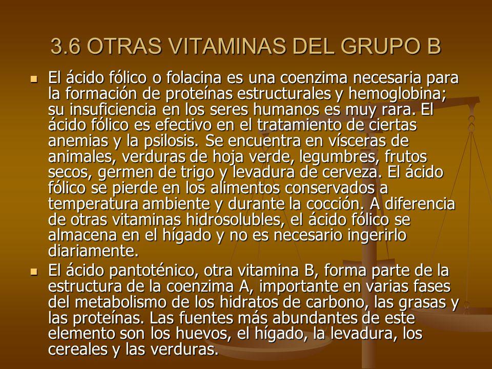3.6 OTRAS VITAMINAS DEL GRUPO B El ácido fólico o folacina es una coenzima necesaria para la formación de proteínas estructurales y hemoglobina; su insuficiencia en los seres humanos es muy rara.
