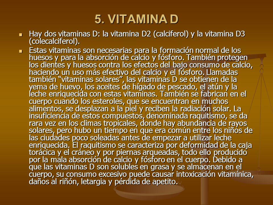 5.VITAMINA D Hay dos vitaminas D: la vitamina D2 (calciferol) y la vitamina D3 (colecalciferol).