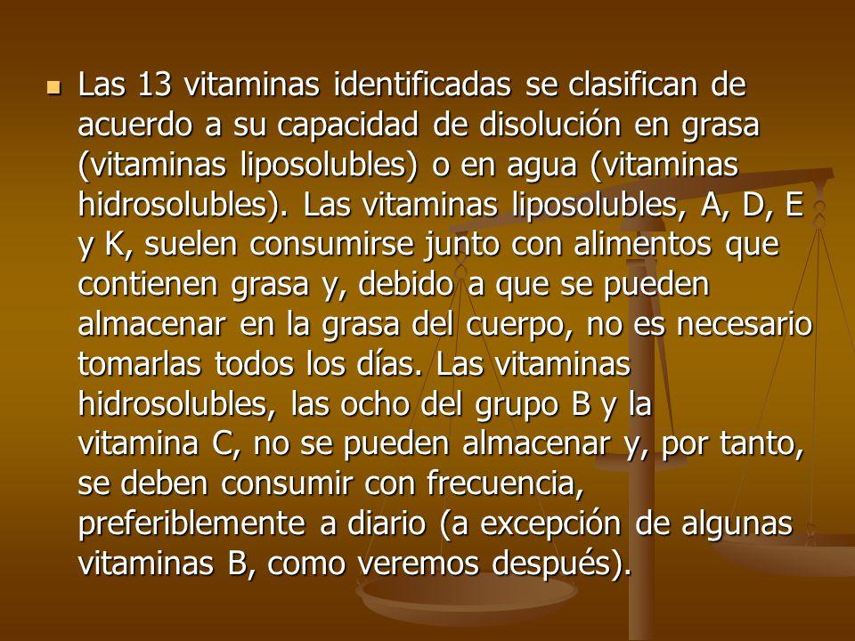 Las vitaminas deben ser aportadas a través de la alimentación, ya que, a excepción de la vitamina D, no pueden ser sintetizadas por el cuerpo humano.