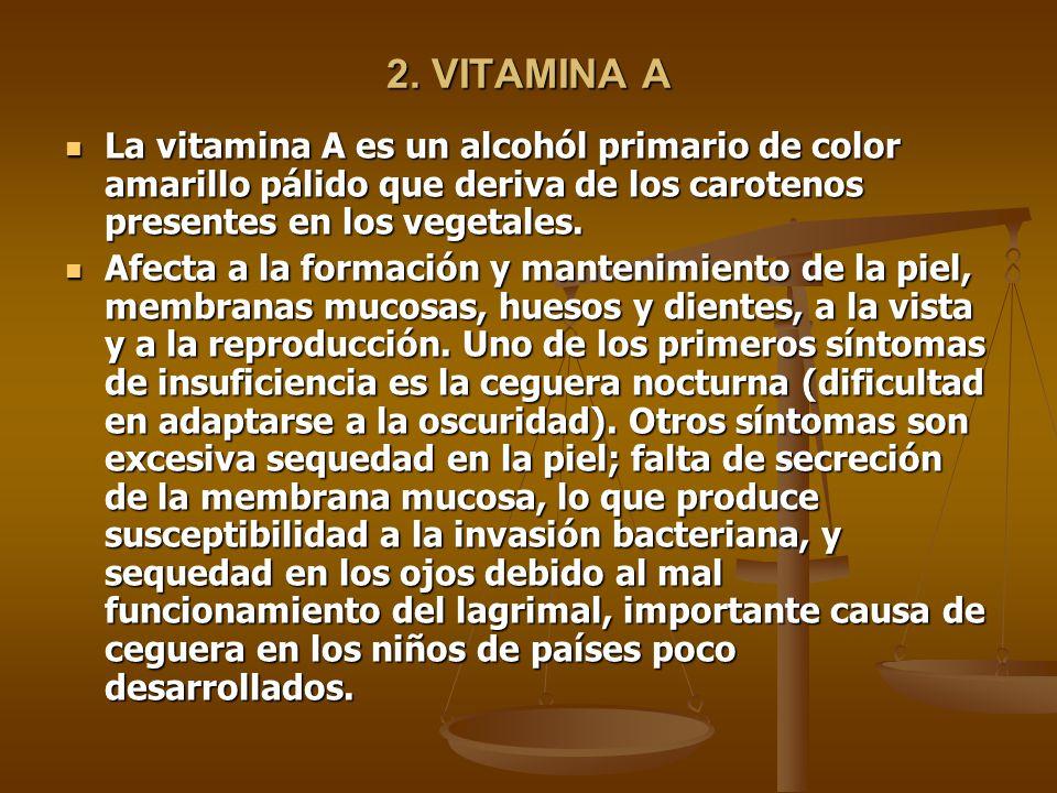 2. VITAMINA A La vitamina A es un alcohól primario de color amarillo pálido que deriva de los carotenos presentes en los vegetales. La vitamina A es u