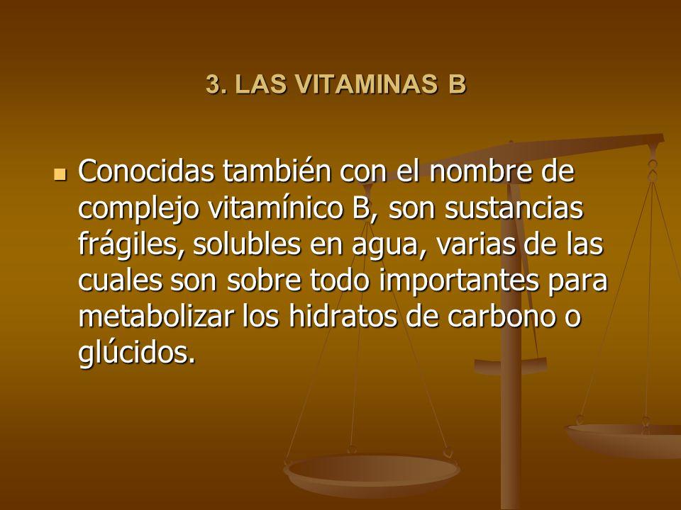 3. LAS VITAMINAS B Conocidas también con el nombre de complejo vitamínico B, son sustancias frágiles, solubles en agua, varias de las cuales son sobre