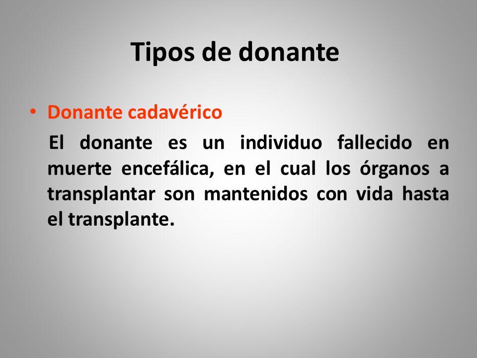 Tipos de donante Donante cadavérico El donante es un individuo fallecido en muerte encefálica, en el cual los órganos a transplantar son mantenidos con vida hasta el transplante.