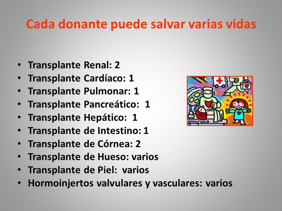 Cada donante puede salvar varias vidas Transplante Renal: 2 Transplante Cardíaco: 1 Transplante Pulmonar: 1 Transplante Pancreático: 1 Transplante Hepático: 1 Transplante de Intestino: 1 Transplante de Córnea: 2 Transplante de Hueso: varios Transplante de Piel: varios Hormoinjertos valvulares y vasculares: varios