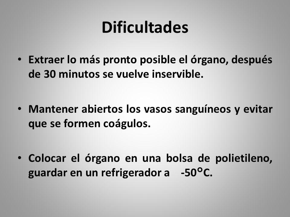 Dificultades Extraer lo más pronto posible el órgano, después de 30 minutos se vuelve inservible.