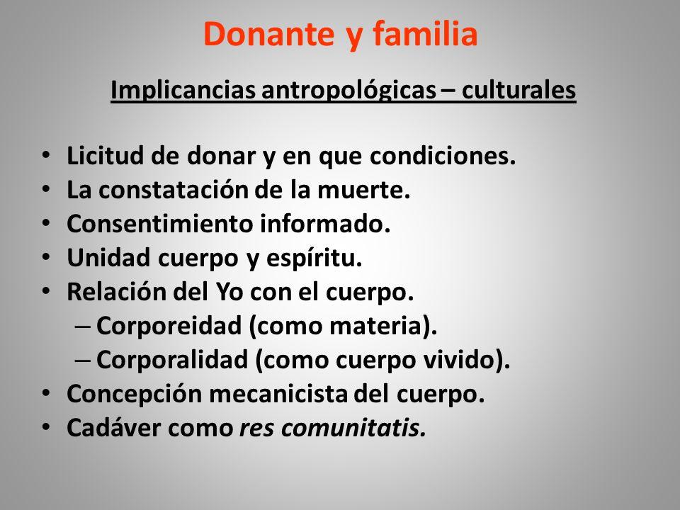 Donante y familia Implicancias antropológicas – culturales Licitud de donar y en que condiciones.