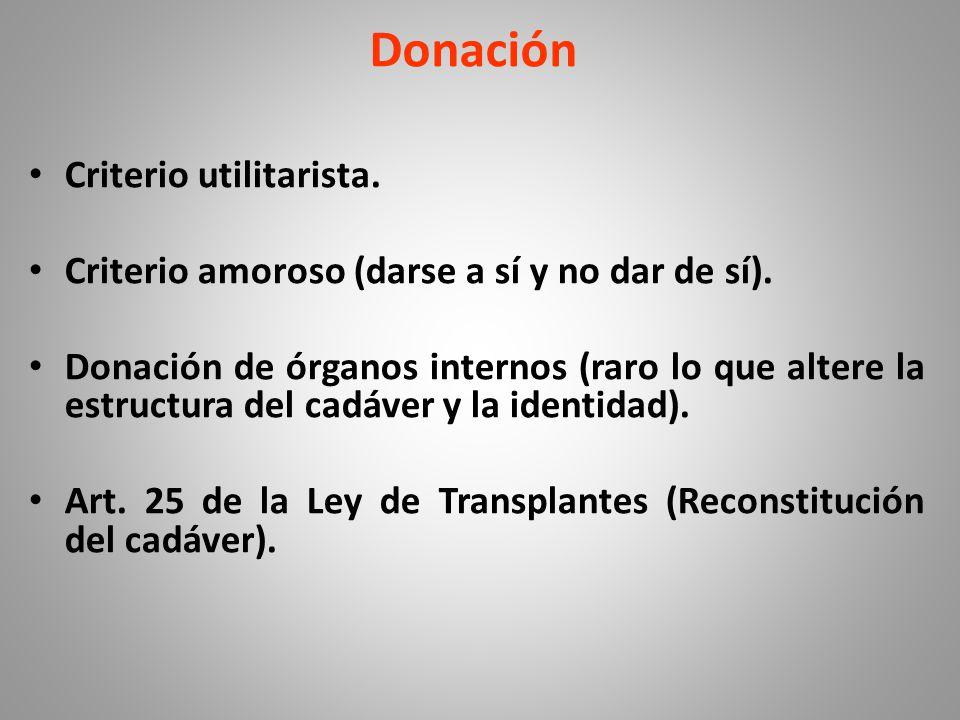 Donación Criterio utilitarista.Criterio amoroso (darse a sí y no dar de sí).