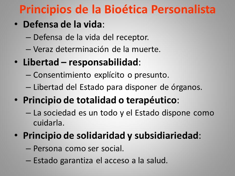 Principios de la Bioética Personalista Defensa de la vida: – Defensa de la vida del receptor.