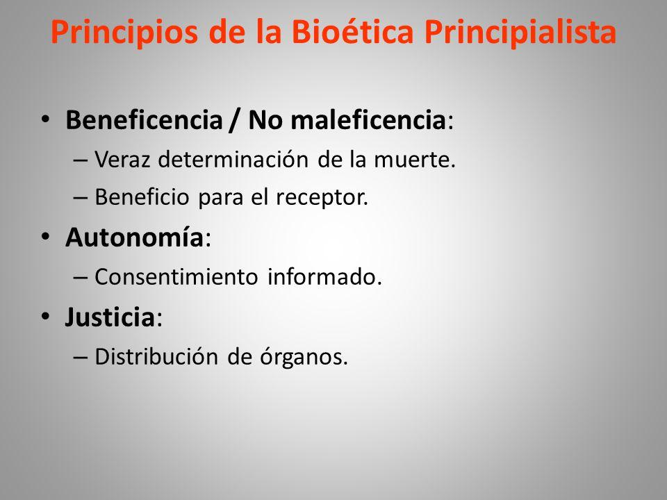 Principios de la Bioética Principialista Beneficencia / No maleficencia: – Veraz determinación de la muerte.