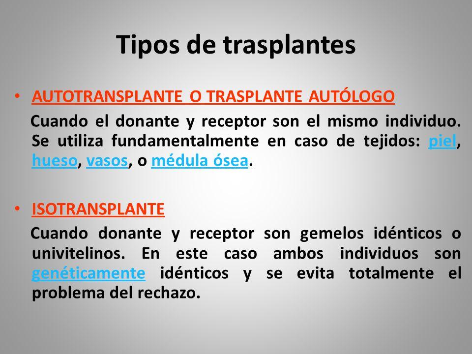 Tipos de transplantes ALOTRANSPLANTE U HOMOTRANSPLANTE Cuando donante y receptor son individuos de una misma especie no genéticamente idénticos.