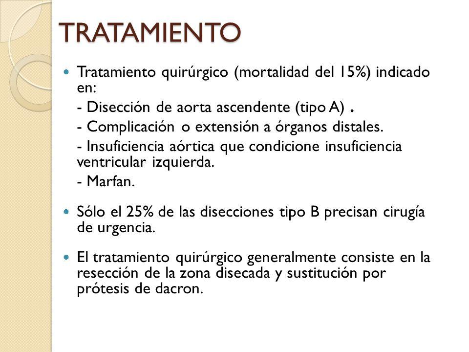 TRATAMIENTO Tratamiento quirúrgico (mortalidad del 15%) indicado en: - Disección de aorta ascendente (tipo A). - Complicación o extensión a órganos di