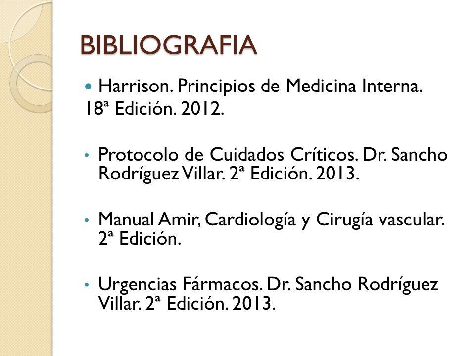 BIBLIOGRAFIA Harrison. Principios de Medicina Interna. 18ª Edición. 2012. Protocolo de Cuidados Críticos. Dr. Sancho Rodríguez Villar. 2ª Edición. 201