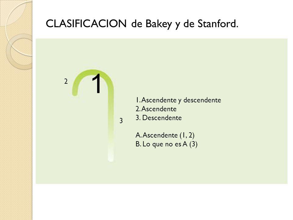 1. Ascendente y descendente 2. Ascendente 3. Descendente A. Ascendente (1, 2) B. Lo que no es A (3) 2 1 3 CLASIFICACION de Bakey y de Stanford.