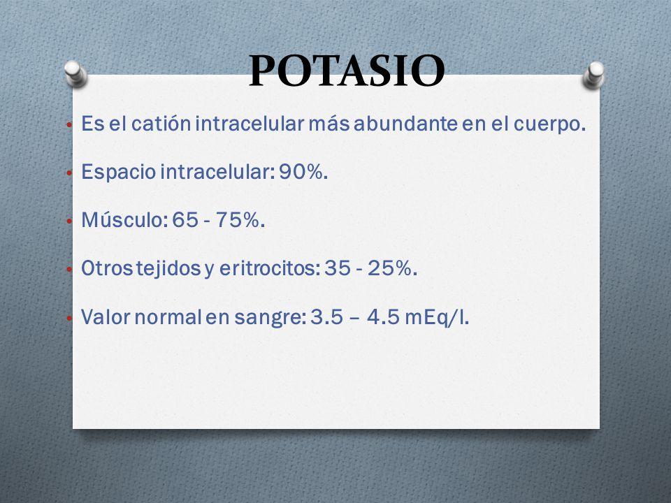 POTASIO Es el catión intracelular más abundante en el cuerpo. Espacio intracelular: 90%. Músculo: 65 - 75%. Otros tejidos y eritrocitos: 35 - 25%. Val