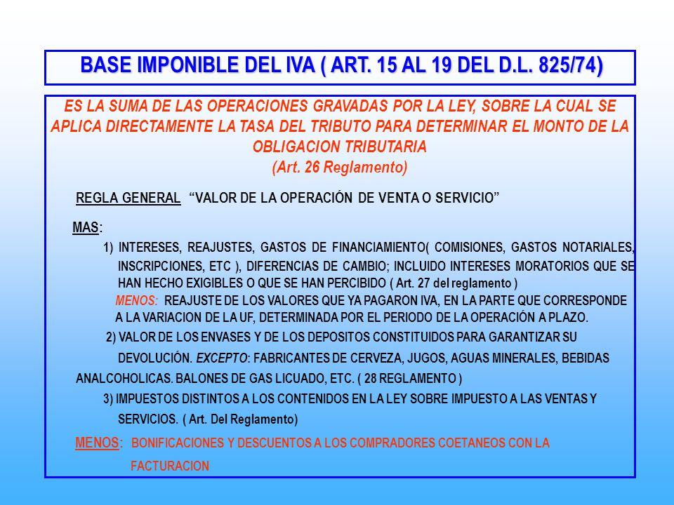 BASE IMPONIBLE DEL IVA ( ART. 15 AL 19 DEL D.L. 825/74 ) BASE IMPONIBLE DEL IVA ( ART. 15 AL 19 DEL D.L. 825/74 ) ES LA SUMA DE LAS OPERACIONES GRAVAD