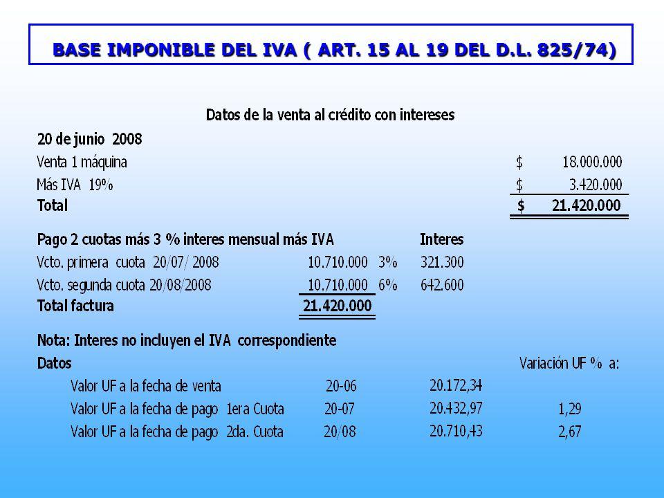 BASE IMPONIBLE DEL IVA ( ART. 15 AL 19 DEL D.L. 825/74)