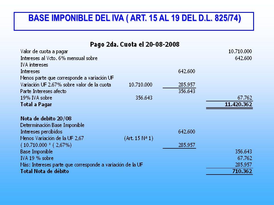 BASE IMPONIBLE DEL IVA ( ART. 15 AL 19 DEL D.L. 825/74 ) BASE IMPONIBLE DEL IVA ( ART. 15 AL 19 DEL D.L. 825/74 )