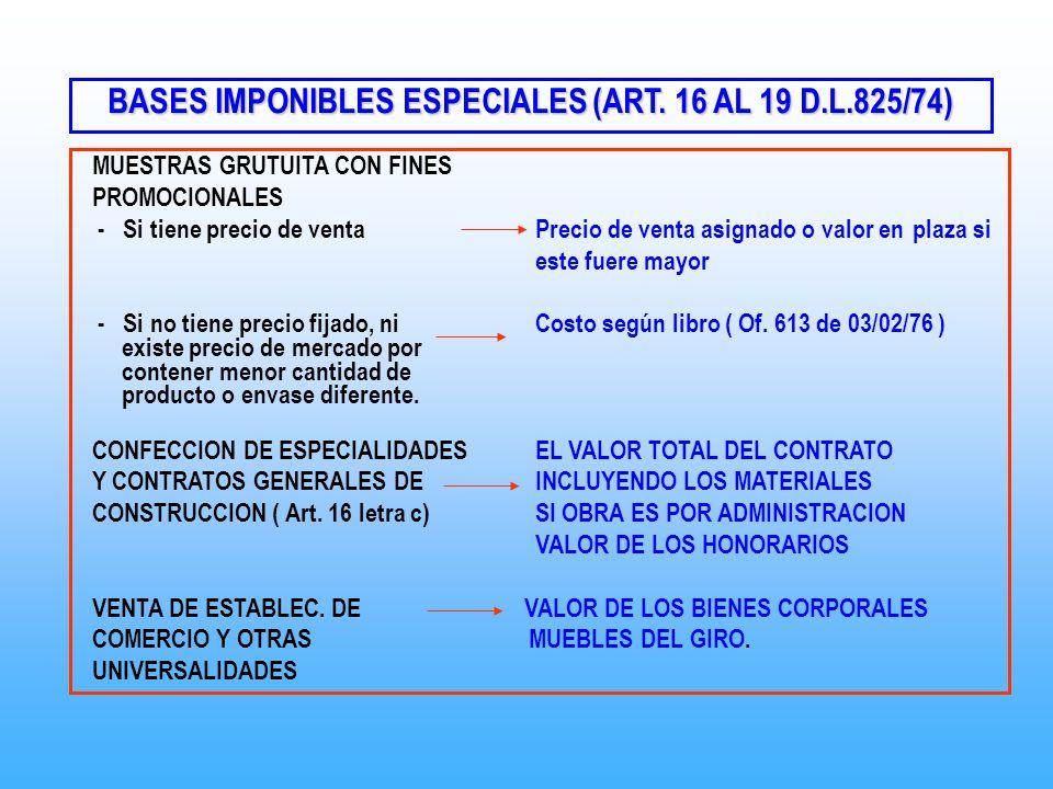 BASES IMPONIBLES ESPECIALES (ART. 16 AL 19 D.L.825/74) MUESTRAS GRUTUITA CON FINES PROMOCIONALES - Si tiene precio de ventaPrecio de venta asignado o