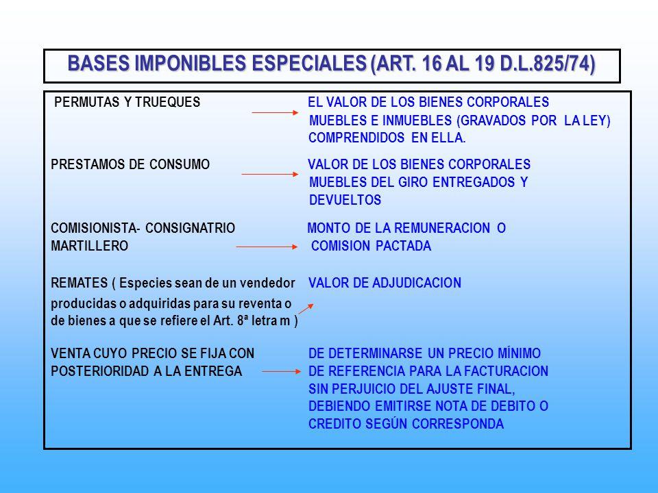 PERMUTAS Y TRUEQUES EL VALOR DE LOS BIENES CORPORALES MUEBLES E INMUEBLES (GRAVADOS POR LA LEY) COMPRENDIDOS EN ELLA. PRESTAMOS DE CONSUMO VALOR DE LO