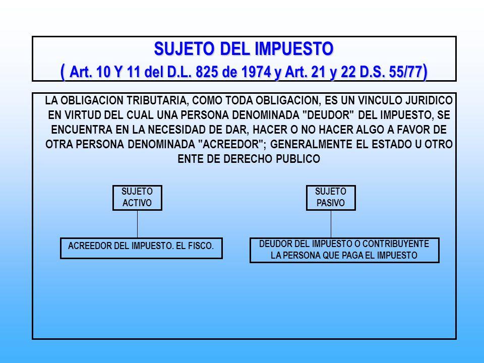 SUJETO DEL IMPUESTO ( Art. 10 Y 11 del D.L. 825 de 1974 y Art. 21 y 22 D.S. 55/77 ) LA OBLIGACION TRIBUTARIA, COMO TODA OBLIGACION, ES UN VINCULO JURI