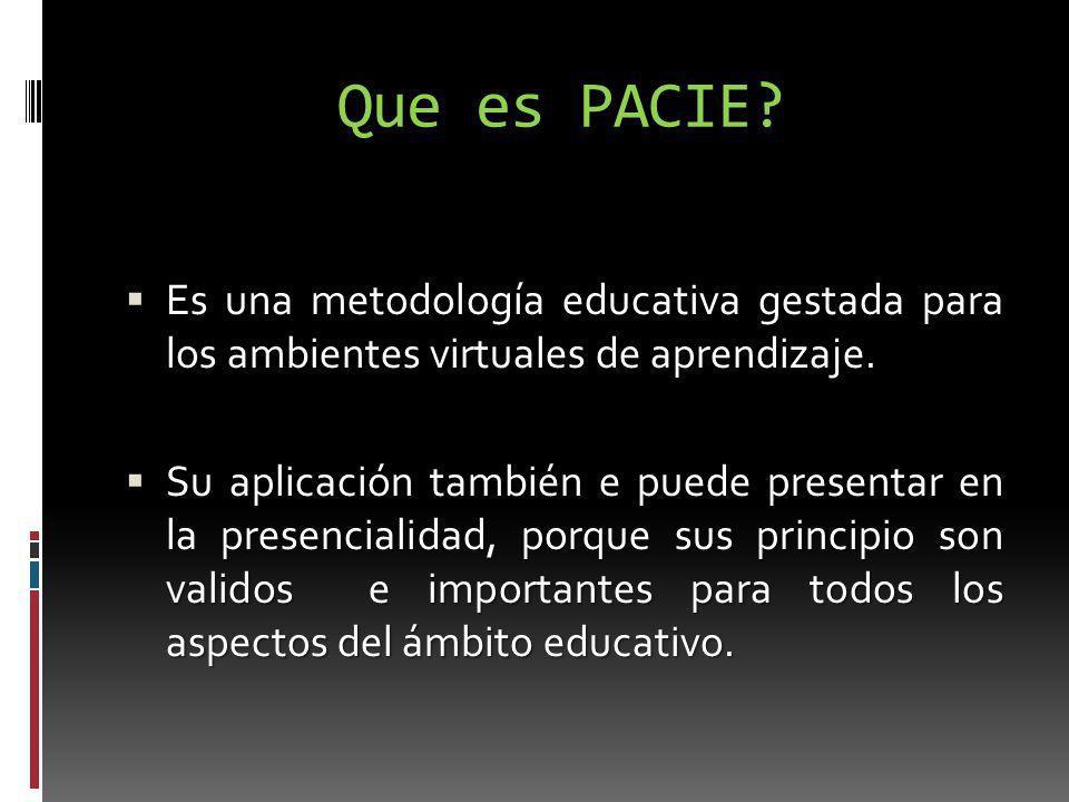 Que es PACIE? Es una metodología educativa gestada para los ambientes virtuales de aprendizaje. Es una metodología educativa gestada para los ambiente
