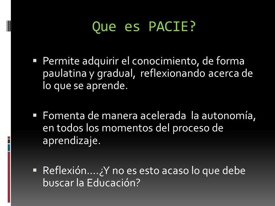 Que es PACIE? Permite adquirir el conocimiento, de forma paulatina y gradual, reflexionando acerca de lo que se aprende. Fomenta de manera acelerada l