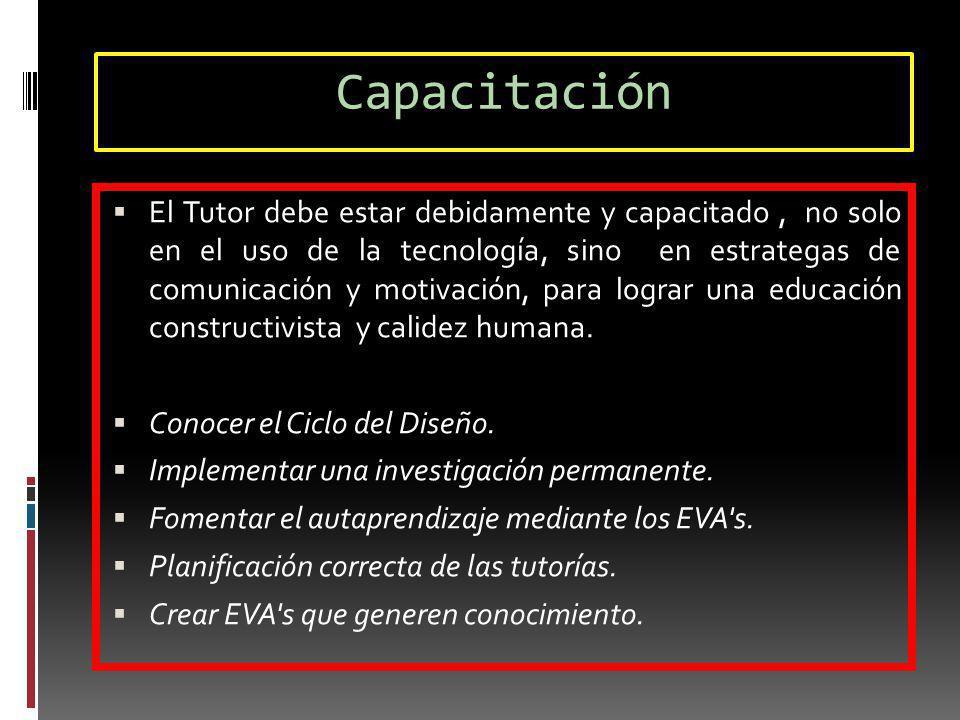 Capacitación El Tutor debe estar debidamente y capacitado, no solo en el uso de la tecnología, sino en estrategas de comunicación y motivación, para l