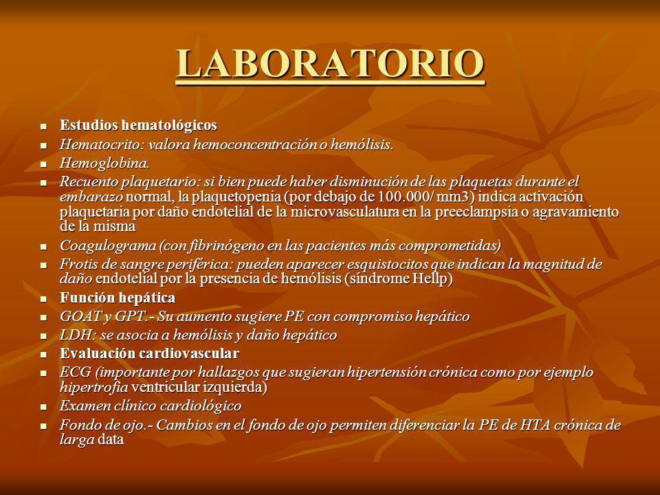 LABORATORIO Estudios hematológicos Estudios hematológicos Hematocrito: valora hemoconcentración o hemólisis. Hematocrito: valora hemoconcentración o h