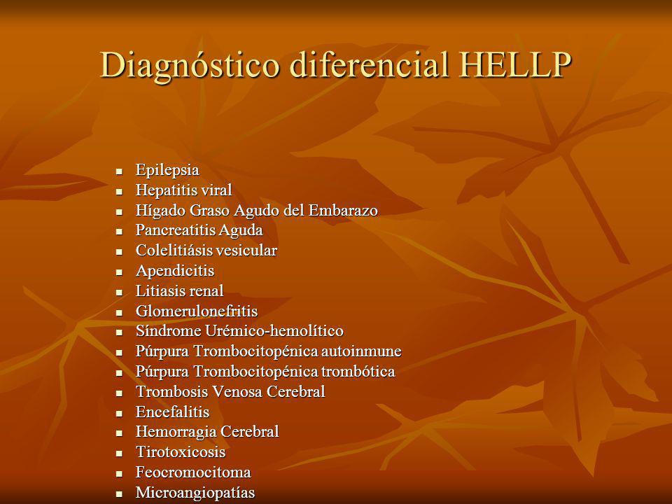 Diagnóstico diferencial HELLP Epilepsia Epilepsia Hepatitis viral Hepatitis viral Hígado Graso Agudo del Embarazo Hígado Graso Agudo del Embarazo Pancreatitis Aguda Pancreatitis Aguda Colelitiásis vesicular Colelitiásis vesicular Apendicitis Apendicitis Litiasis renal Litiasis renal Glomerulonefritis Glomerulonefritis Síndrome Urémico-hemolítico Síndrome Urémico-hemolítico Púrpura Trombocitopénica autoinmune Púrpura Trombocitopénica autoinmune Púrpura Trombocitopénica trombótica Púrpura Trombocitopénica trombótica Trombosis Venosa Cerebral Trombosis Venosa Cerebral Encefalitis Encefalitis Hemorragia Cerebral Hemorragia Cerebral Tirotoxicosis Tirotoxicosis Feocromocitoma Feocromocitoma Microangiopatías Microangiopatías