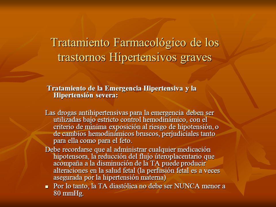 Tratamiento Farmacológico de los trastornos Hipertensivos graves Tratamiento de la Emergencia Hipertensiva y la Hipertensión severa: Tratamiento de la