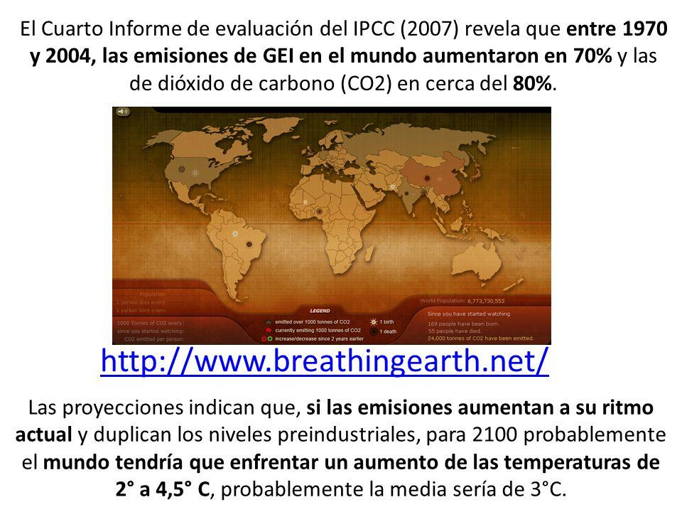 El Cuarto Informe de evaluación del IPCC (2007) revela que entre 1970 y 2004, las emisiones de GEI en el mundo aumentaron en 70% y las de dióxido de carbono (CO2) en cerca del 80%.