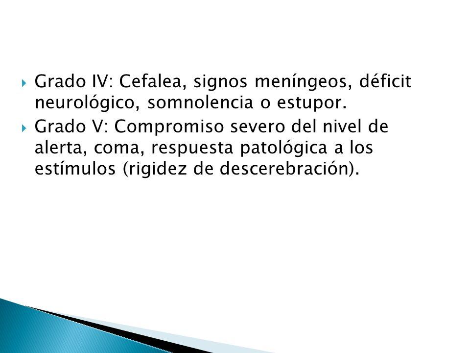 Grado IV: Cefalea, signos meníngeos, déficit neurológico, somnolencia o estupor. Grado V: Compromiso severo del nivel de alerta, coma, respuesta patol