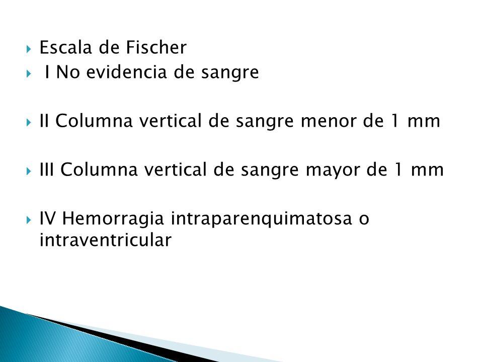 Escala de Fischer I No evidencia de sangre II Columna vertical de sangre menor de 1 mm III Columna vertical de sangre mayor de 1 mm IV Hemorragia intr