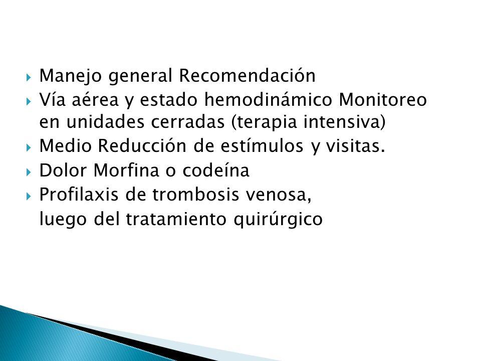 Manejo general Recomendación Vía aérea y estado hemodinámico Monitoreo en unidades cerradas (terapia intensiva) Medio Reducción de estímulos y visitas