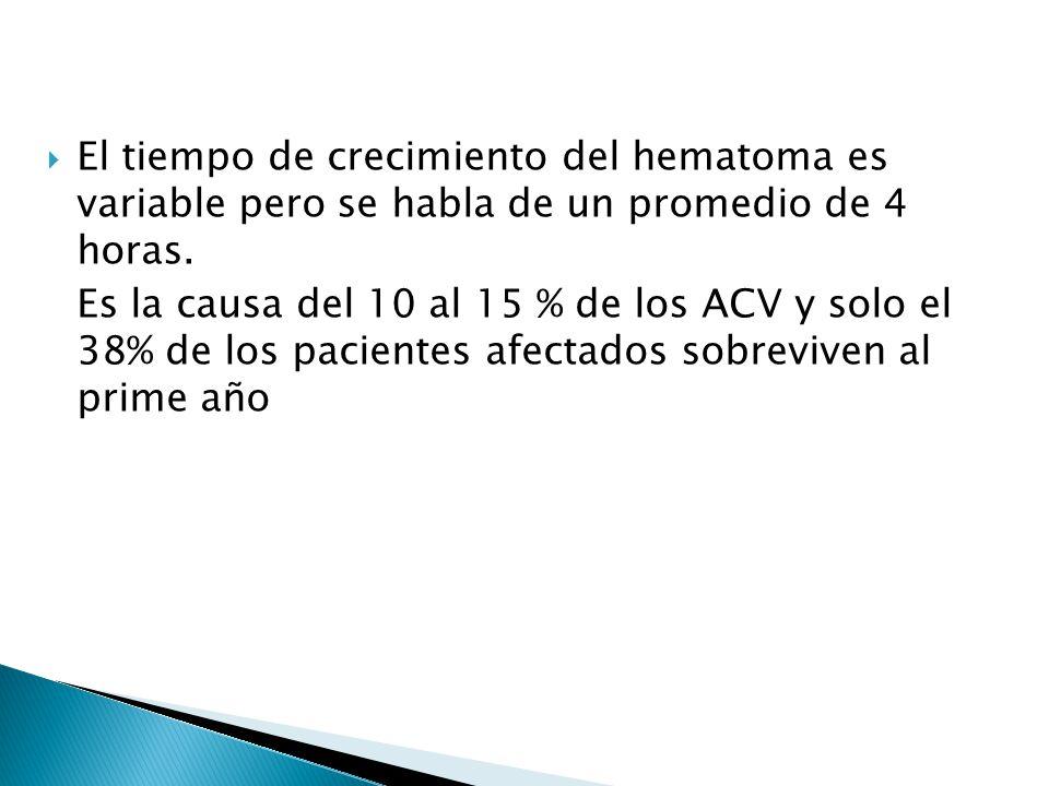 El tiempo de crecimiento del hematoma es variable pero se habla de un promedio de 4 horas. Es la causa del 10 al 15 % de los ACV y solo el 38% de los