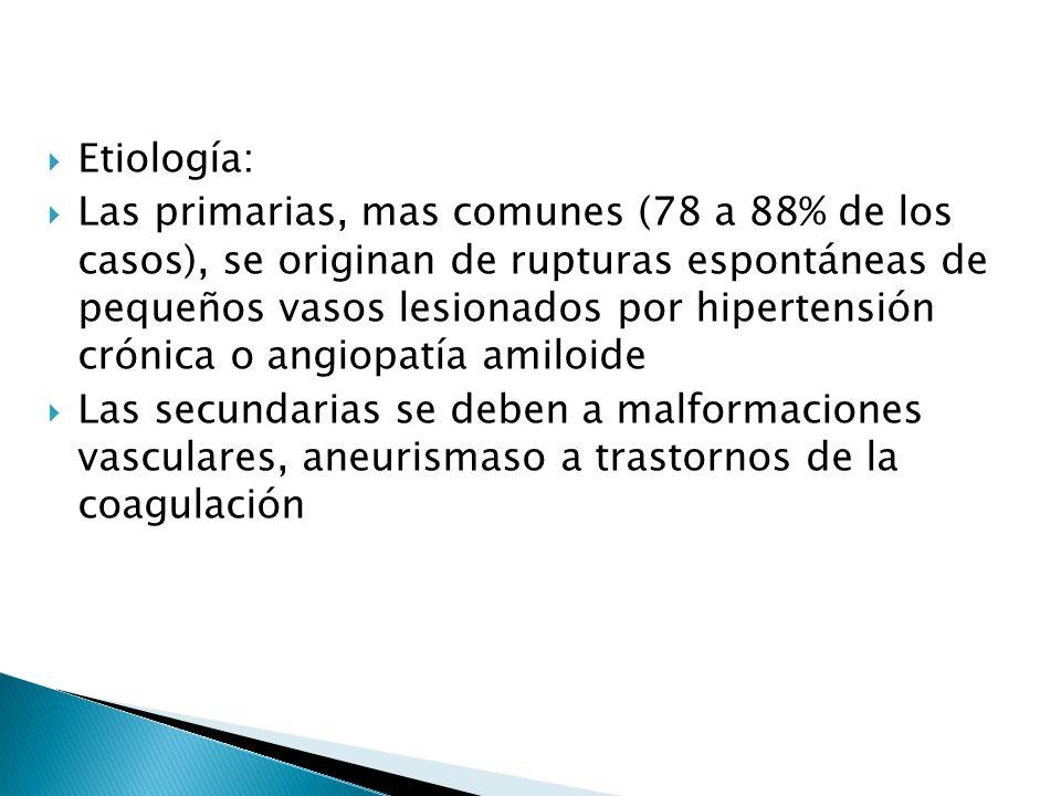 Etiología: Las primarias, mas comunes (78 a 88% de los casos), se originan de rupturas espontáneas de pequeños vasos lesionados por hipertensión cróni