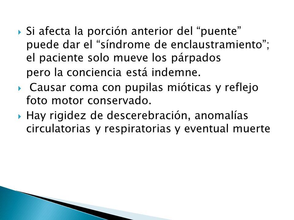 Si afecta la porción anterior del puente puede dar el síndrome de enclaustramiento; el paciente solo mueve los párpados pero la conciencia está indemn
