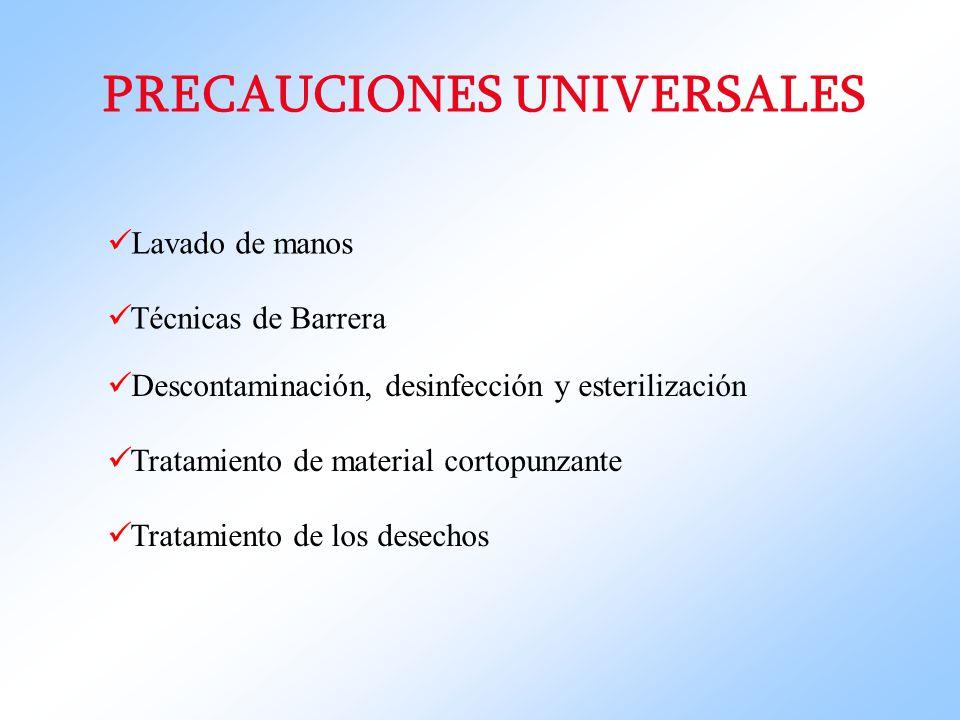 PRECAUCIONES UNIVERSALES Lavado de manos Técnicas de Barrera Descontaminación, desinfección y esterilización Tratamiento de material cortopunzante Tra