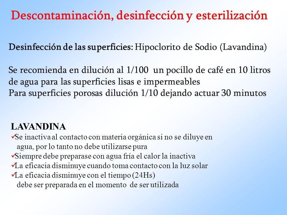 Descontaminación, desinfección y esterilización Desinfección de las superficies: Hipoclorito de Sodio (Lavandina) Se recomienda en dilución al 1/100 u